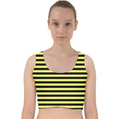 Wasp Stripes Pattern, Yellow And Black Lines, Bug Themed Velvet Racer Back Crop Top by Casemiro
