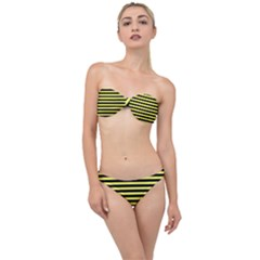 Wasp Stripes Pattern, Yellow And Black Lines, Bug Themed Classic Bandeau Bikini Set by Casemiro