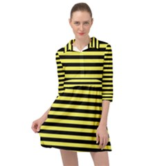Wasp Stripes Pattern, Yellow And Black Lines, Bug Themed Mini Skater Shirt Dress by Casemiro