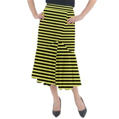Wasp Stripes Pattern, Yellow And Black Lines, Bug Themed Midi Mermaid Skirt by Casemiro