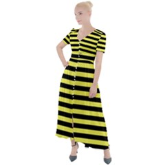 Wasp Stripes Pattern, Yellow And Black Lines, Bug Themed Button Up Short Sleeve Maxi Dress