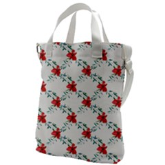 Poppies Pattern, Poppy Flower Symetric Theme, Floral Design Canvas Messenger Bag