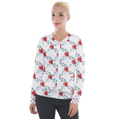 Poppies Pattern, Poppy Flower Symetric Theme, Floral Design Velour Zip Up Jacket