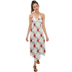 Poppies Pattern, Poppy Flower Symetric Theme, Floral Design Halter Tie Back Dress