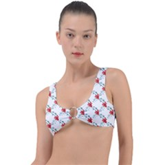 Poppies Pattern, Poppy Flower Symetric Theme, Floral Design Ring Detail Bikini Top