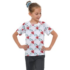 Poppies Pattern, Poppy Flower Symetric Theme, Floral Design Kids  Mesh Piece Tee