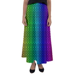 Rainbow Colored Scales Pattern, Full Color Palette, Fish Like Flared Maxi Skirt by Casemiro