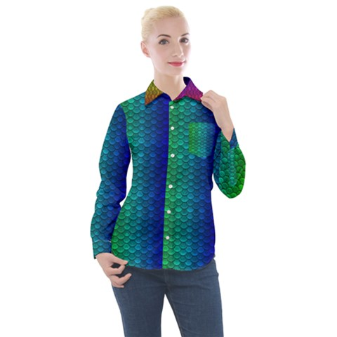 Rainbow Colored Scales Pattern, Full Color Palette, Fish Like Women s Long Sleeve Pocket Shirt by Casemiro