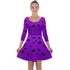 Two Tone Purple With Black Strings And Ovals, Dots  Geometric Pattern Quarter Sleeve Skater Dress