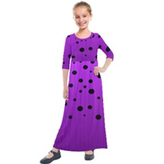 Two Tone Purple With Black Strings And Ovals, Dots  Geometric Pattern Kids  Quarter Sleeve Maxi Dress
