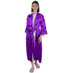 Two Tone Purple With Black Strings And Ovals, Dots  Geometric Pattern Maxi Satin Kimono by Casemiro