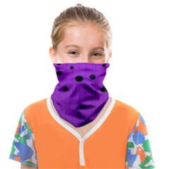 Two Tone Purple With Black Strings And Ovals, Dots  Geometric Pattern Face Covering Bandana (kids)
