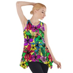 Hibiscus Flowers Pattern, Floral Theme, Rainbow Colors, Colorful Palette Side Drop Tank Tunic