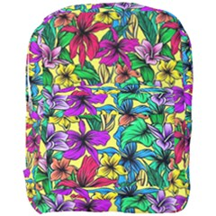 Hibiscus Flowers Pattern, Floral Theme, Rainbow Colors, Colorful Palette Full Print Backpack by Casemiro