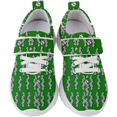 Cherry-blossoms Branch Decorative On A Field Of Fern Kids  Velcro Strap Shoes