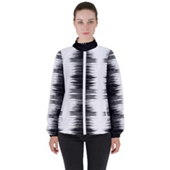 Black And White Noise, Sound Equalizer Pattern Women s High Neck Windbreaker by Casemiro