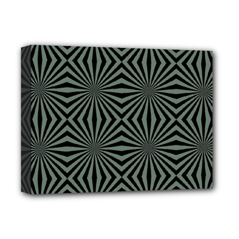 Geometric Pattern, Army Green And Black Lines, Regular Theme Deluxe Canvas 16  X 12  (stretched)