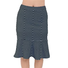 Geometric Pattern, Army Green And Black Lines, Regular Theme Short Mermaid Skirt by Casemiro