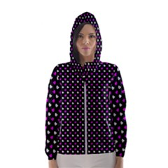 White And Pink Hearts At Black, Vector Handrawn Hearts Pattern Women s Hooded Windbreaker by Casemiro
