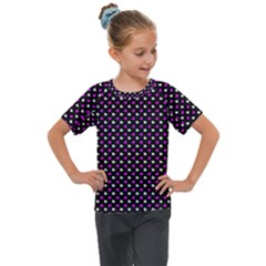 White And Pink Hearts At Black, Vector Handrawn Hearts Pattern Kids  Mesh Piece Tee