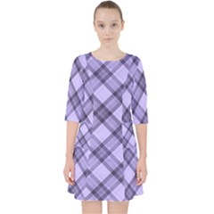 Pastel Purple And Steel Black Lines Pattern, Retro Tartan, Classic Plaid Pocket Dress by Casemiro