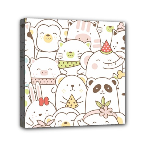 Cute-baby-animals-seamless-pattern Mini Canvas 6  X 6  (stretched) by Sobalvarro
