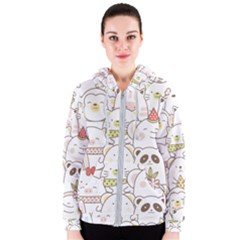 Cute-baby-animals-seamless-pattern Women s Zipper Hoodie by Sobalvarro