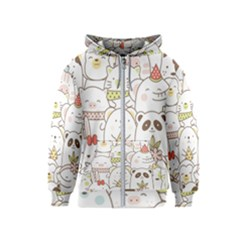 Cute-baby-animals-seamless-pattern Kids  Zipper Hoodie by Sobalvarro