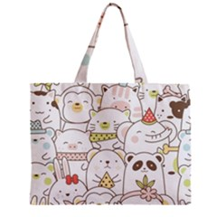 Cute-baby-animals-seamless-pattern Zipper Mini Tote Bag by Sobalvarro