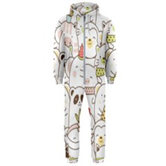 Cute-baby-animals-seamless-pattern Hooded Jumpsuit (men)  by Sobalvarro