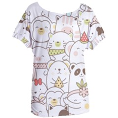 Cute-baby-animals-seamless-pattern Women s Oversized Tee by Sobalvarro