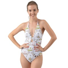 Cute-baby-animals-seamless-pattern Halter Cut-out One Piece Swimsuit by Sobalvarro