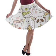 Cute-baby-animals-seamless-pattern A-line Skater Skirt by Sobalvarro