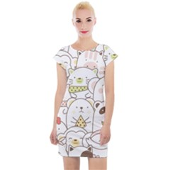 Cute-baby-animals-seamless-pattern Cap Sleeve Bodycon Dress by Sobalvarro
