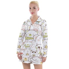 Cute-baby-animals-seamless-pattern Women s Long Sleeve Casual Dress by Sobalvarro