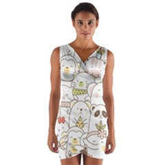 Cute-baby-animals-seamless-pattern Wrap Front Bodycon Dress by Sobalvarro