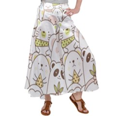 Cute-baby-animals-seamless-pattern Satin Palazzo Pants by Sobalvarro
