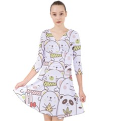 Cute-baby-animals-seamless-pattern Quarter Sleeve Front Wrap Dress by Sobalvarro
