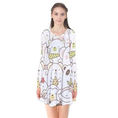 Cute-baby-animals-seamless-pattern Long Sleeve V-neck Flare Dress by Sobalvarro