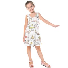 Cute-baby-animals-seamless-pattern Kids  Sleeveless Dress by Sobalvarro