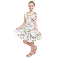 Cute-baby-animals-seamless-pattern Kids  Short Sleeve Dress by Sobalvarro