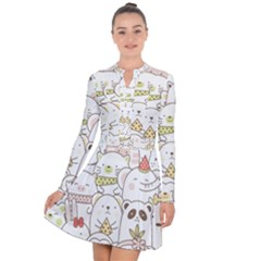 Cute-baby-animals-seamless-pattern Long Sleeve Panel Dress by Sobalvarro