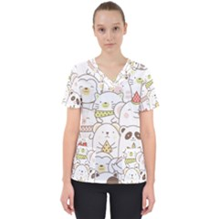 Cute-baby-animals-seamless-pattern Women s V-neck Scrub Top by Sobalvarro