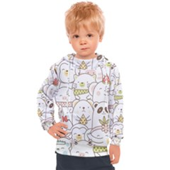 Cute-baby-animals-seamless-pattern Kids  Hooded Pullover by Sobalvarro