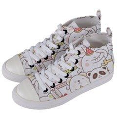 Cute-baby-animals-seamless-pattern Women s Mid-top Canvas Sneakers by Sobalvarro