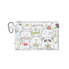 Cute-baby-animals-seamless-pattern Canvas Cosmetic Bag (small) by Sobalvarro