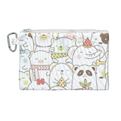 Cute-baby-animals-seamless-pattern Canvas Cosmetic Bag (large) by Sobalvarro