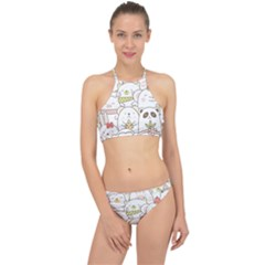 Cute-baby-animals-seamless-pattern Racer Front Bikini Set by Sobalvarro