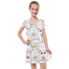 Cute-baby-animals-seamless-pattern Kids  Cross Web Dress by Sobalvarro