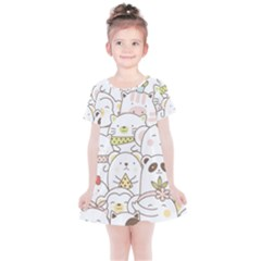Cute-baby-animals-seamless-pattern Kids  Simple Cotton Dress by Sobalvarro